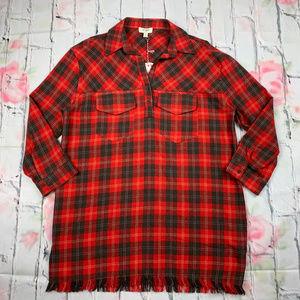 Umgee raw hem popover tunic shirt dress NWT B1